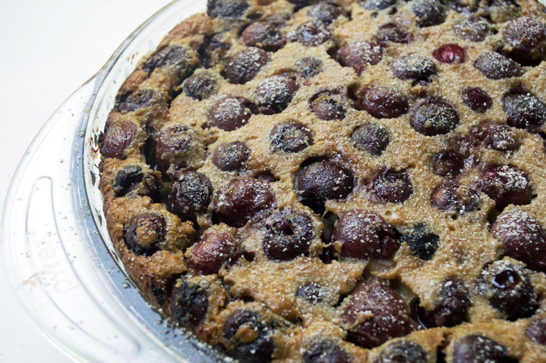 The final baked French cherry tart clafoutis topped with powdered sugar