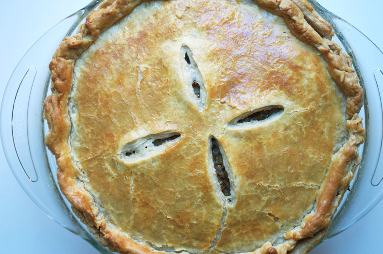 After baking your tourtière (Canadian Christmas meat pie), you should have a beautiful golden crust on the outside that will be flaky and crispy to the touch