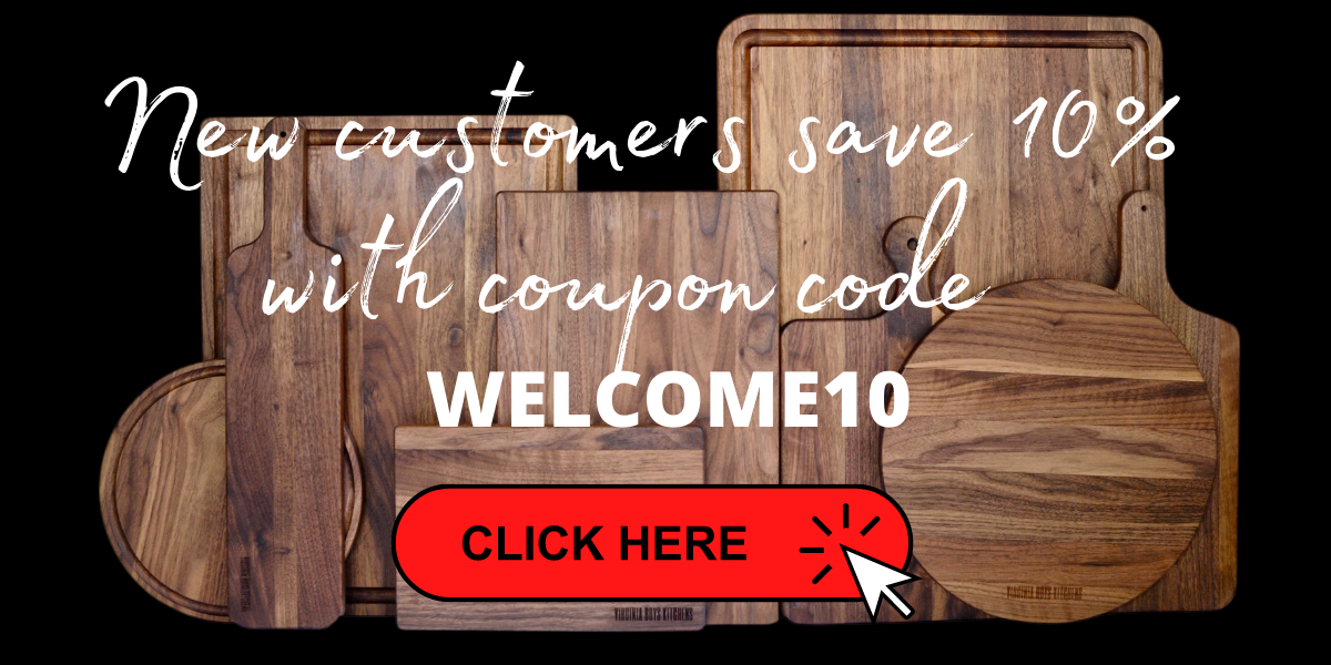 save 10% on walnut cutting boards from virginia boys kitchens
